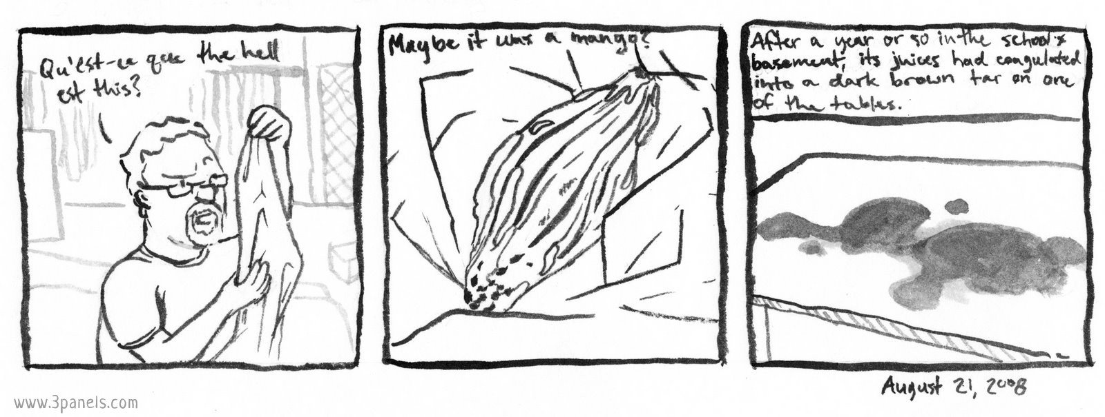 """Dean and their dad are cleaning in the basement of Dean's old school. Panel 1: Dean's dad holds a plastic bag in front of his face and says: """"Qu'est-ce que the hell est this?"""" Panel 2: Close up image of the plastic bag's contents. A dried-out, moldy piece of fruit. Image text reads: """"Maybe it was a mango?"""" Panel 3: Image of a table with a large stain on it. Image text reads: """"After a year or so in the school's basement, its juices had coagulated into a dark brown tar on one of the tables."""""""