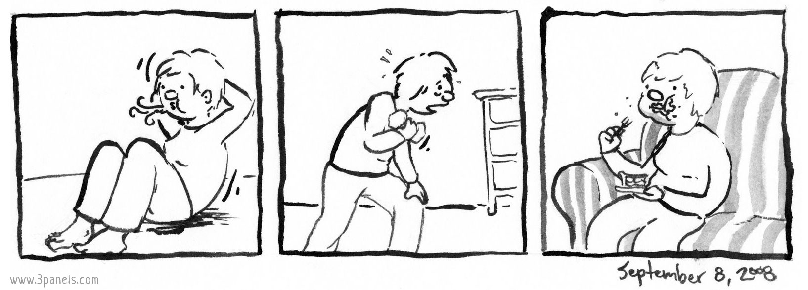 Panel 1: Dean does sit-ups. Panel 2: Dean lifts a dumbbell, sweating and looking exhausted. Panel 3: Dean sits on the couch and eats a slice of pie.
